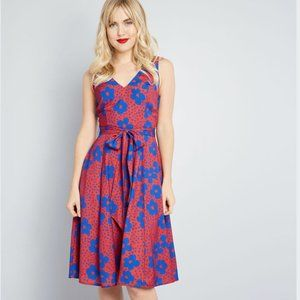 MODCLOTH Timeless Magnetism A-Line Floral Dress S
